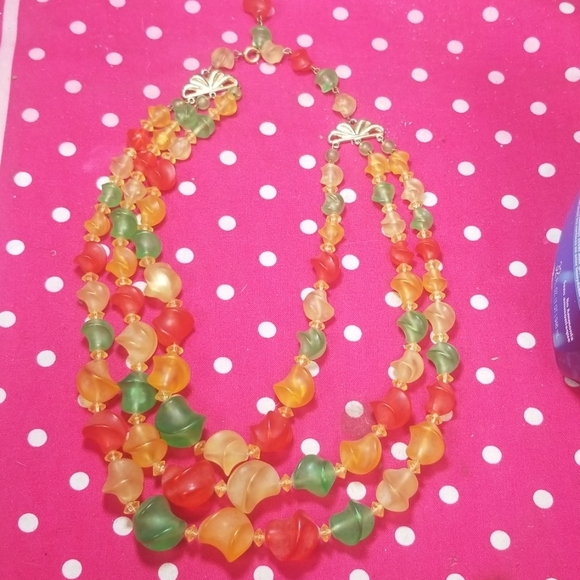 Vintage Jewelry - Vintage colorful 3 layers necklace